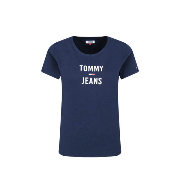 TOMMY HILFIGER  - WOMEN'S SQUARE LOGO TEE NAVY