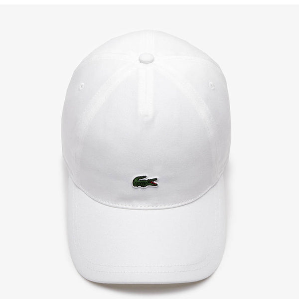 LACOSTE - MEN'S EMBROIDERED CROCODILE COTTON CAP WHITE