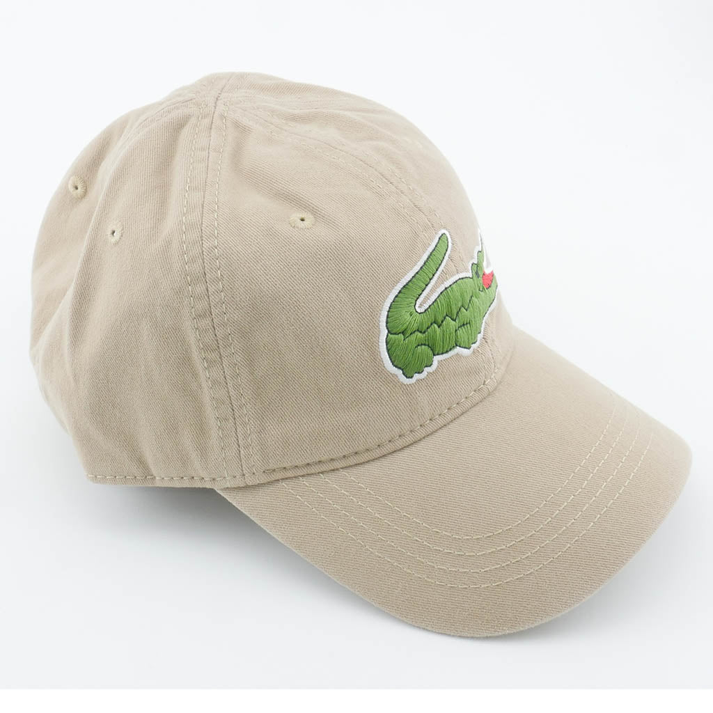 51c051672a3 LACOSTE MEN S BIG CROC GABARDINE CAP KRAFT BEIGE - Urban Equipment