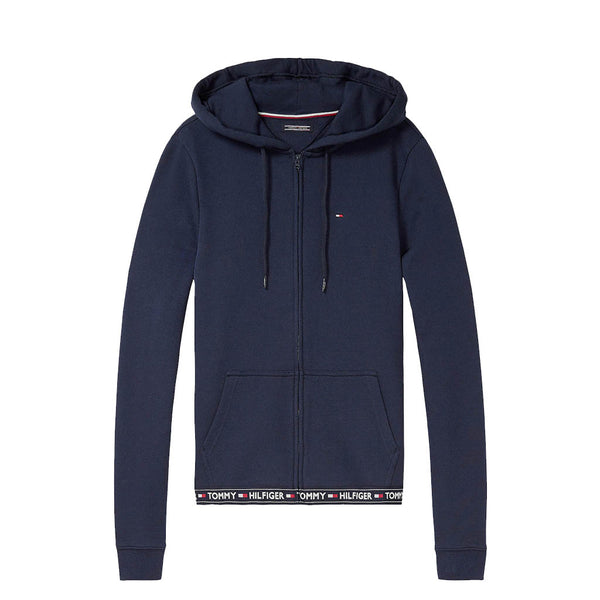 TOMMY HILFIGER - WOMEN'S COTTON TERRY LOUNGE HOODY NAVY