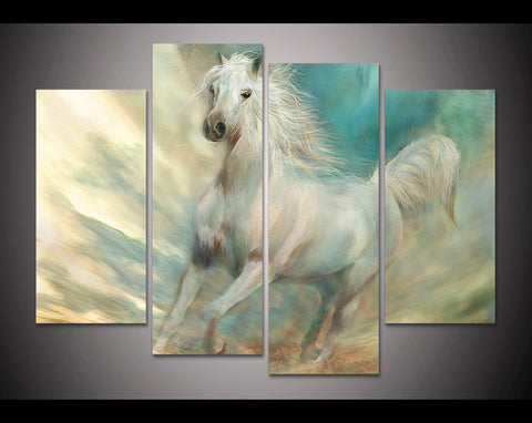 The White Horse 4 Piece Canvas