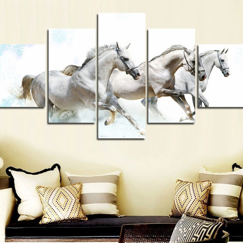 White Horses Canvas
