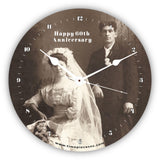 Personalised Novelty Clock - 60th wedding anniversary with original wedding photo