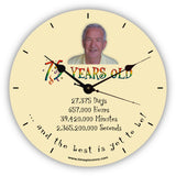 Personalised Novelty Clock - 75th birthday with photo