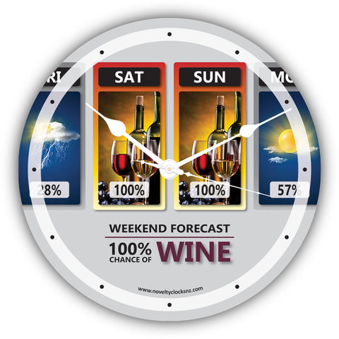 Weekend Forecast 100% Chance of Wine Bar Theme Novelty Gift Clock
