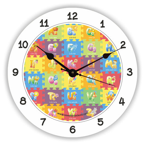 A to Z Children Alphabet Novelty Gift Clock
