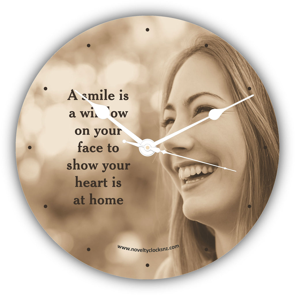 A Smile is a Window Inspirational Motivational Novelty Gift Clock