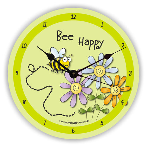 Bee Happy General Inspirational Motivational Novelty Gift Clock