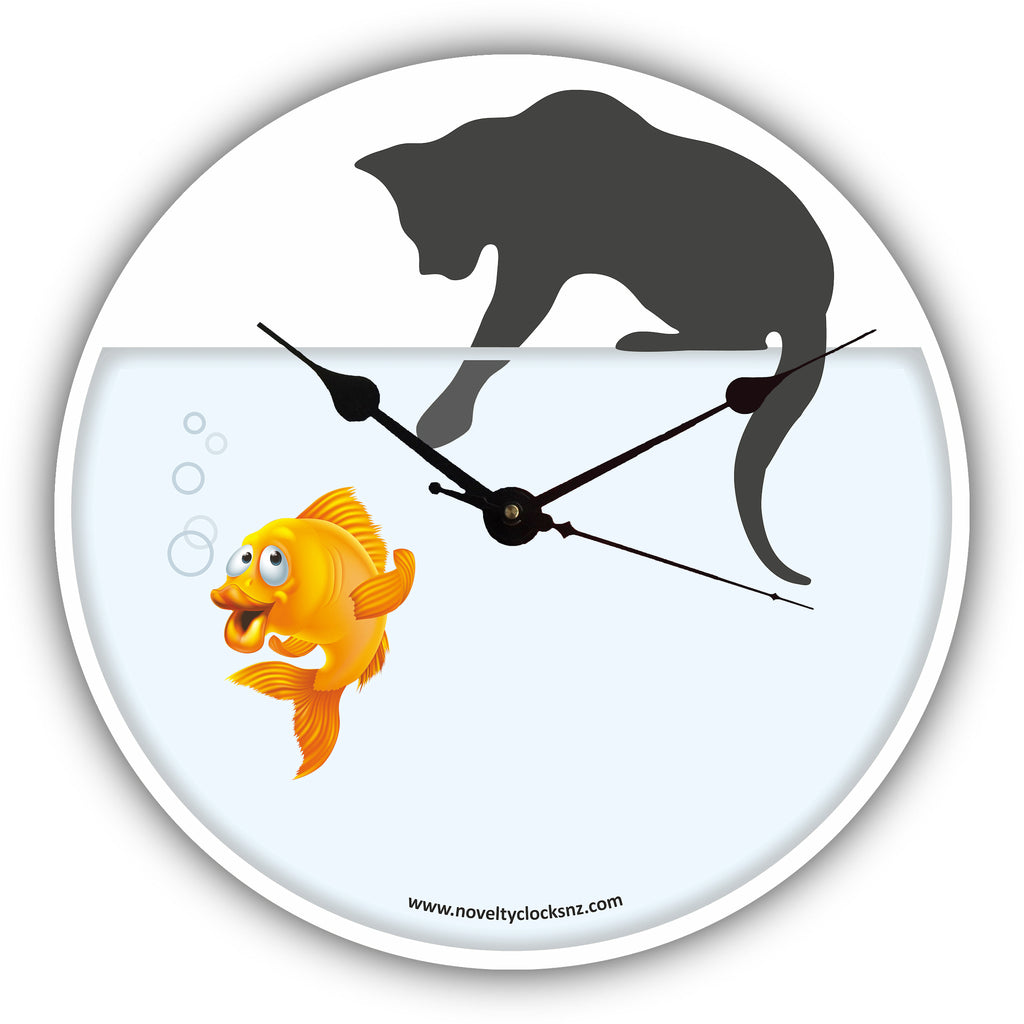Cat Fishing General Novelty Gift Clock