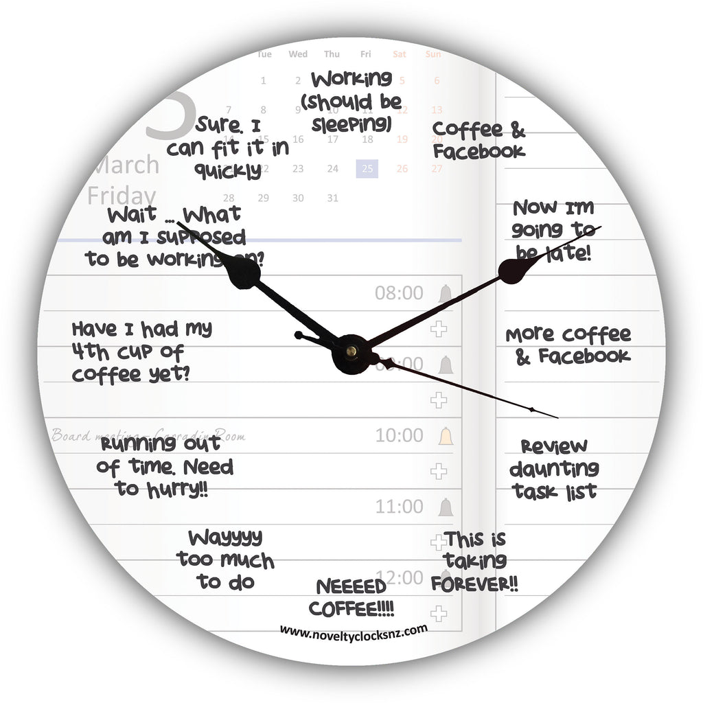 Daily Schedule Humour Novelty Gift Clock