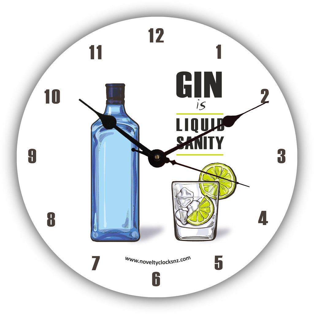 Gin is Liquid Sanity Bar Theme Novelty Gift Clock
