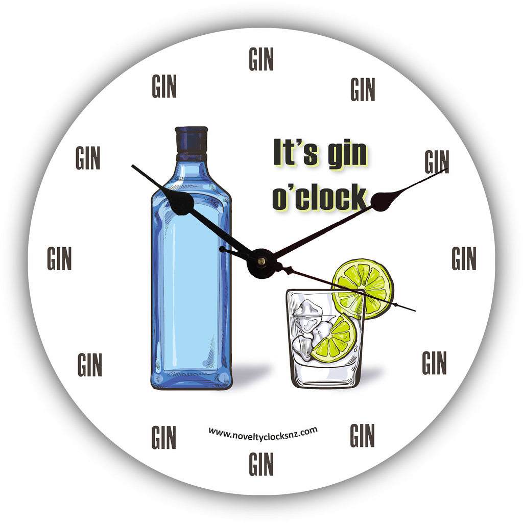 It's Gin O'clock Bar Theme Novelty Gift Clock