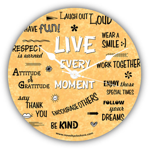 Live Every Moment Inspirational Motivational Novelty Gift Clock
