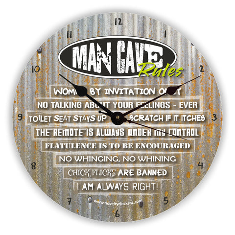 Man Cave Rules Bar Theme Novelty Gift Clock