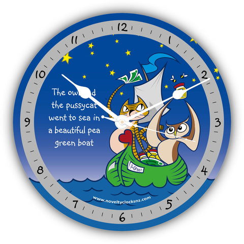 Owl and the Pussycat Children Novelty Gift Clock