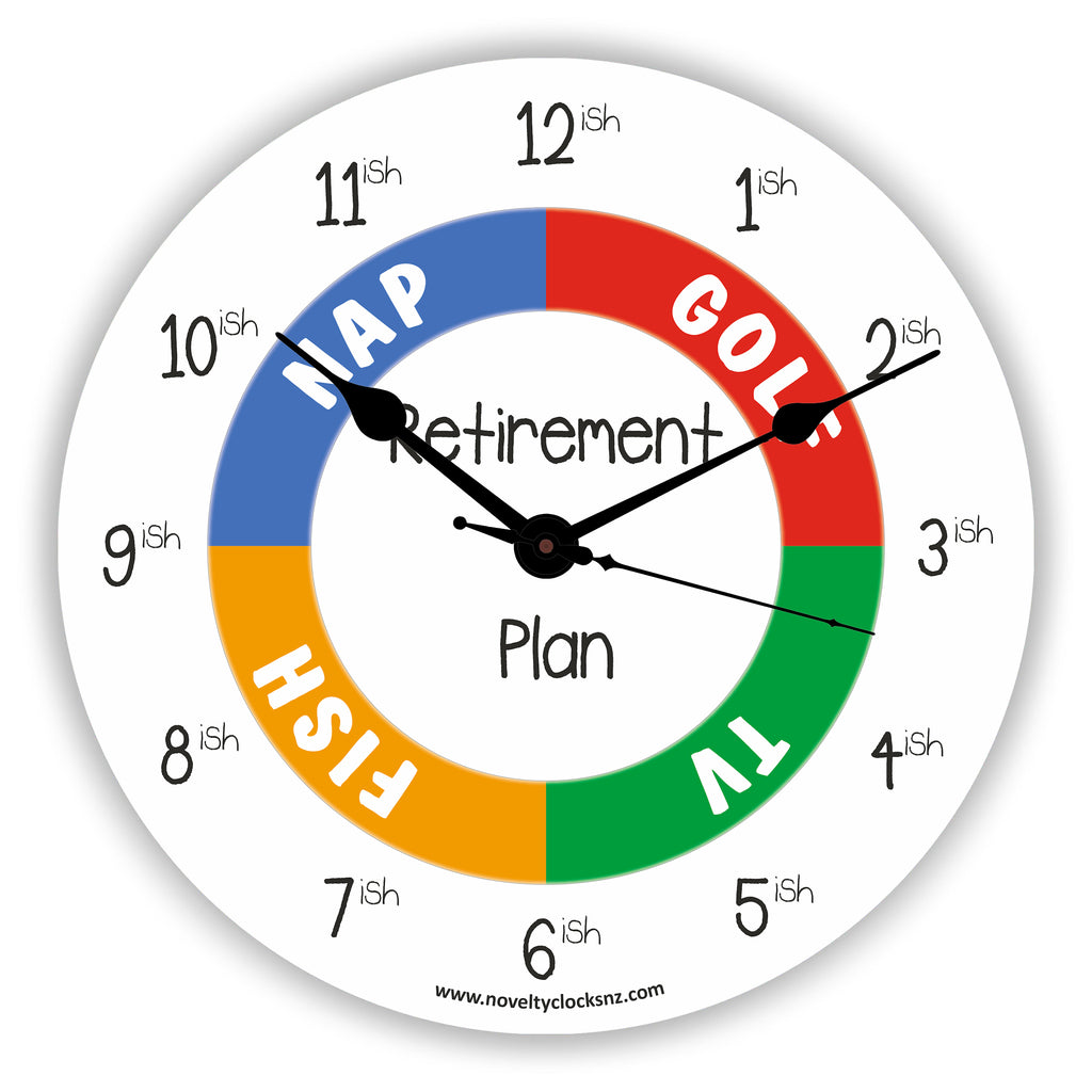 Retirement Plan Humour Novelty Gift Clock
