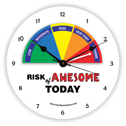 Risk of Awesome Humour General Novelty Gift Clock