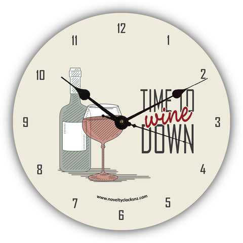 Time to Wine Down Bar Theme Novelty Gift Clock