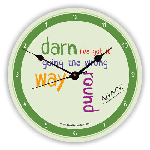 Wrong Way Round Backwards Reverse Anticlockwise Novelty Gift Clock