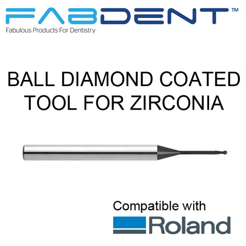 Fabdent Roland Compatible Diamond Coated Tool for DWX-50, DWX - 51D, DWX - 52DC for Zirconia