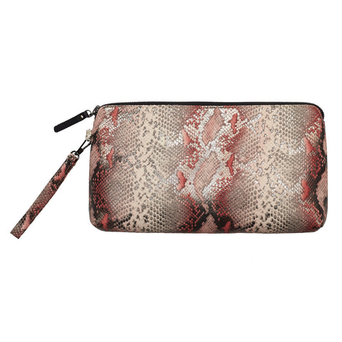 Ellen clutch - Snake print leather pink/grey
