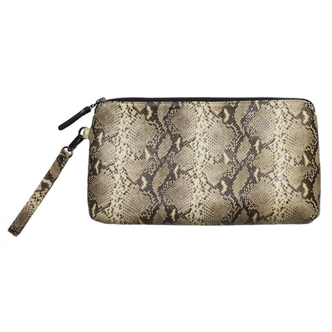 Ellen clutch - Snake print leather brown/cream