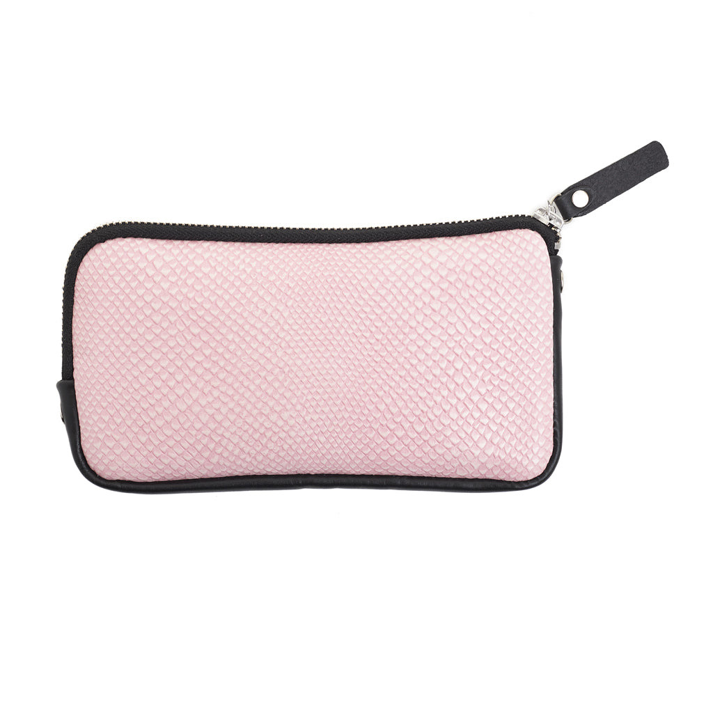 Esther Wallet Pink snake emboss leather