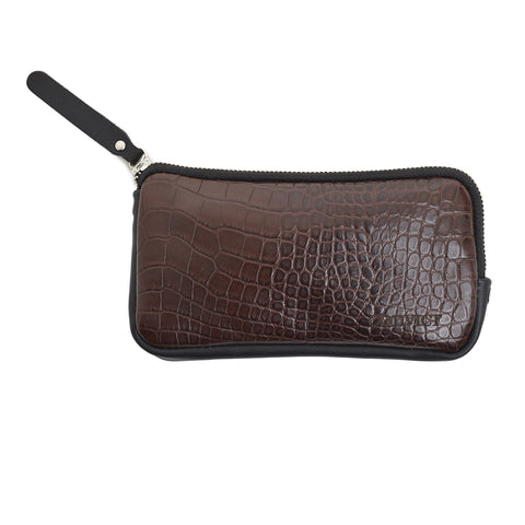 Aaron Passport Wallet - Chocolate Croc