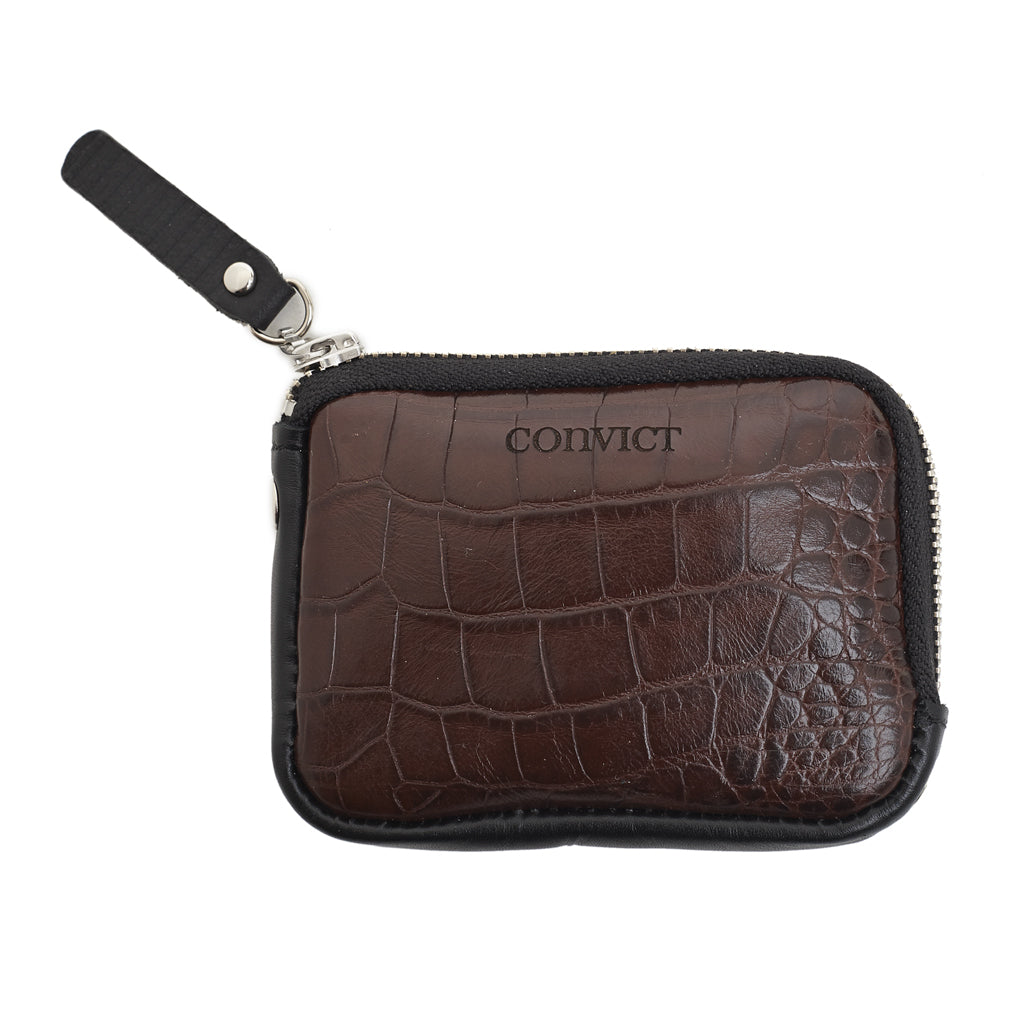 Sarah Coin Purse Brown croc emboss leather