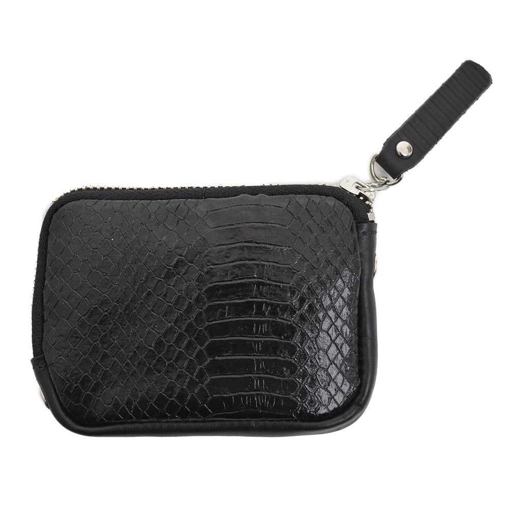 Sarah Coin Purse Black snake emboss leather