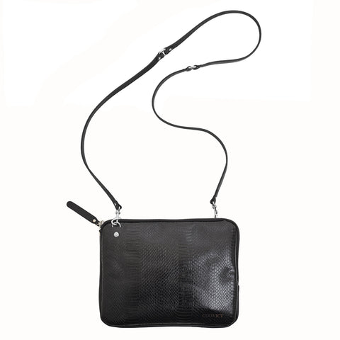 Grace Soft Cross Body Black snake emboss leather