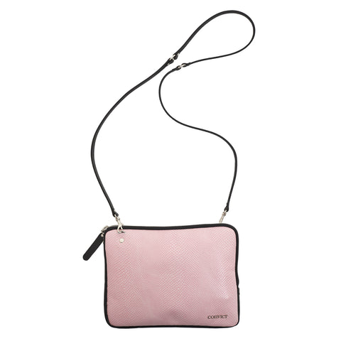 Grace Soft Cross Body Pink snake emboss leather