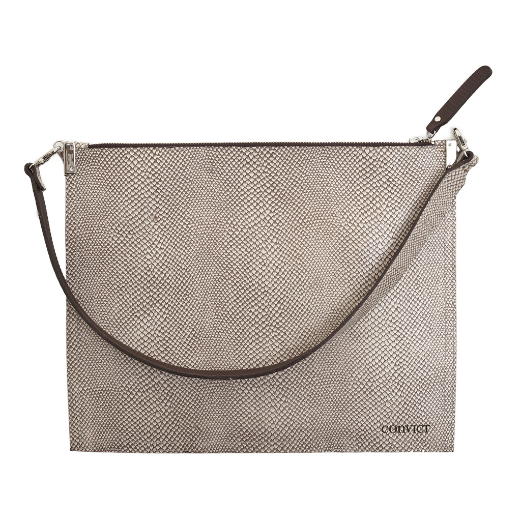 Annette Pouch Sand Snake print emboss leather