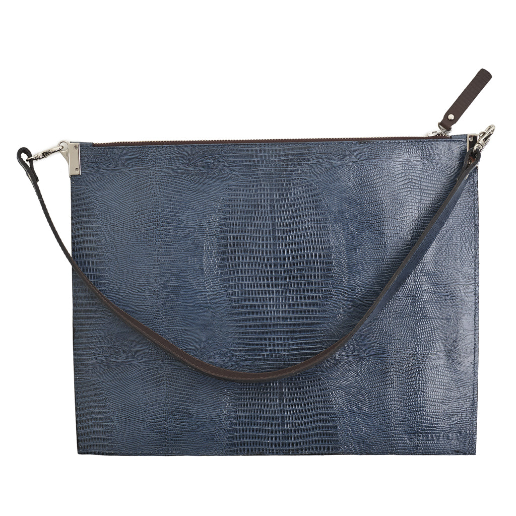 Annette Pouch Blue Snake print emboss leather