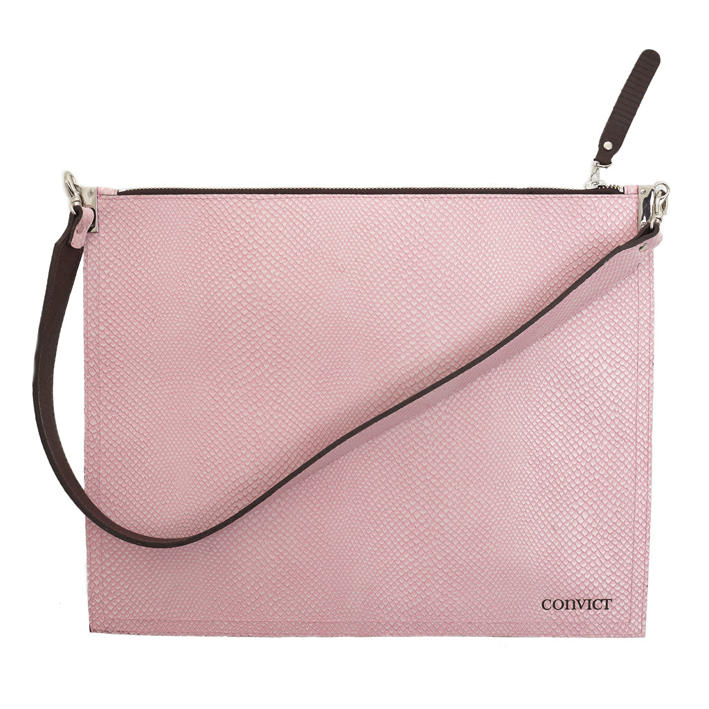 Annette Pouch Pink Snake print emboss leather