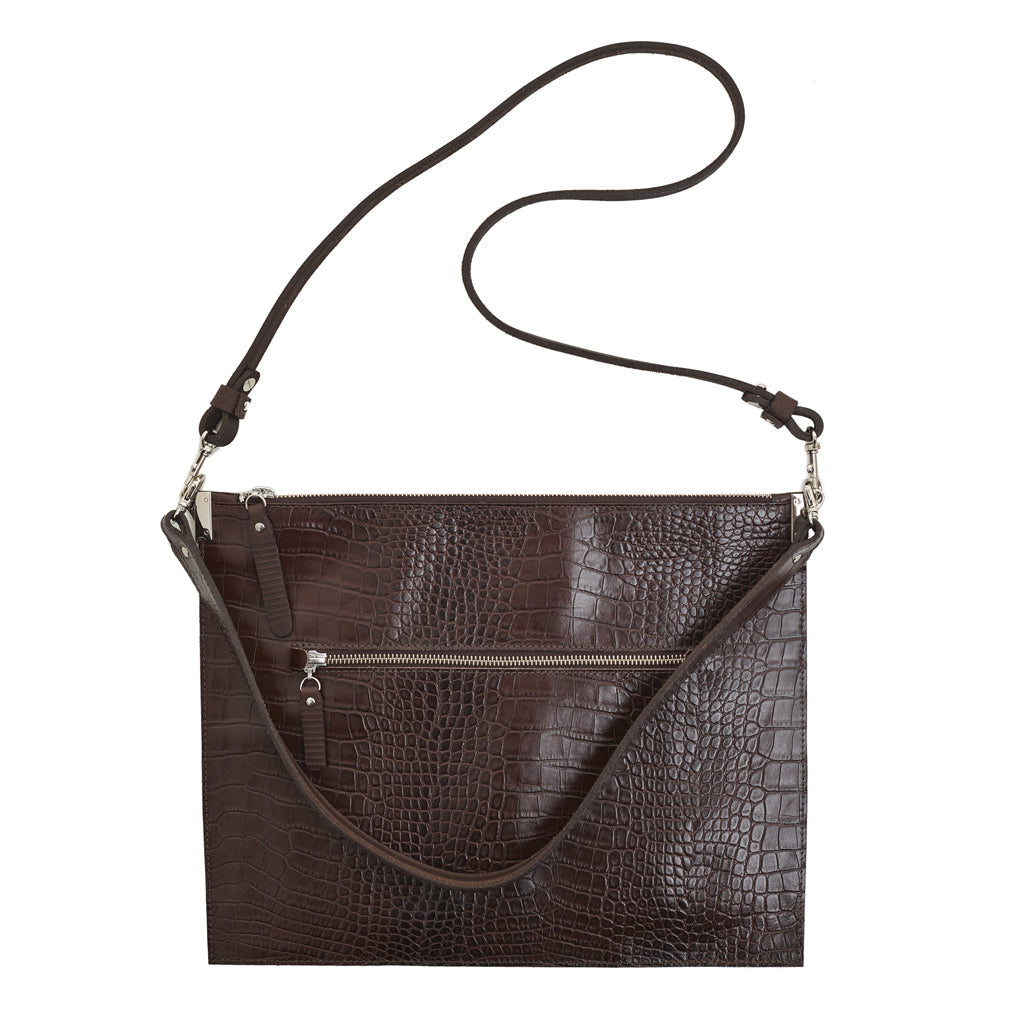 Annette Pouch Brown Croc print emboss leather