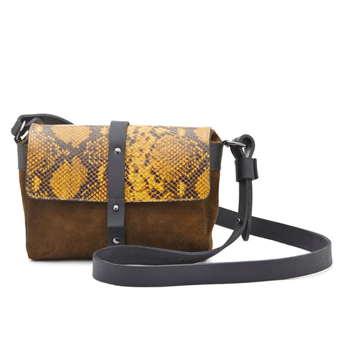 Annette Pouch Mustard print leather