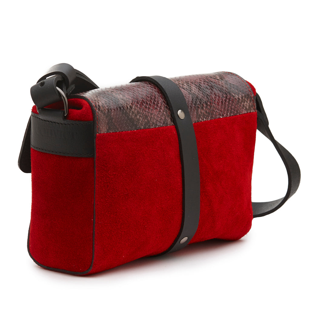 Sophia Boxy Satchel Red suede/Berry snake print leathers