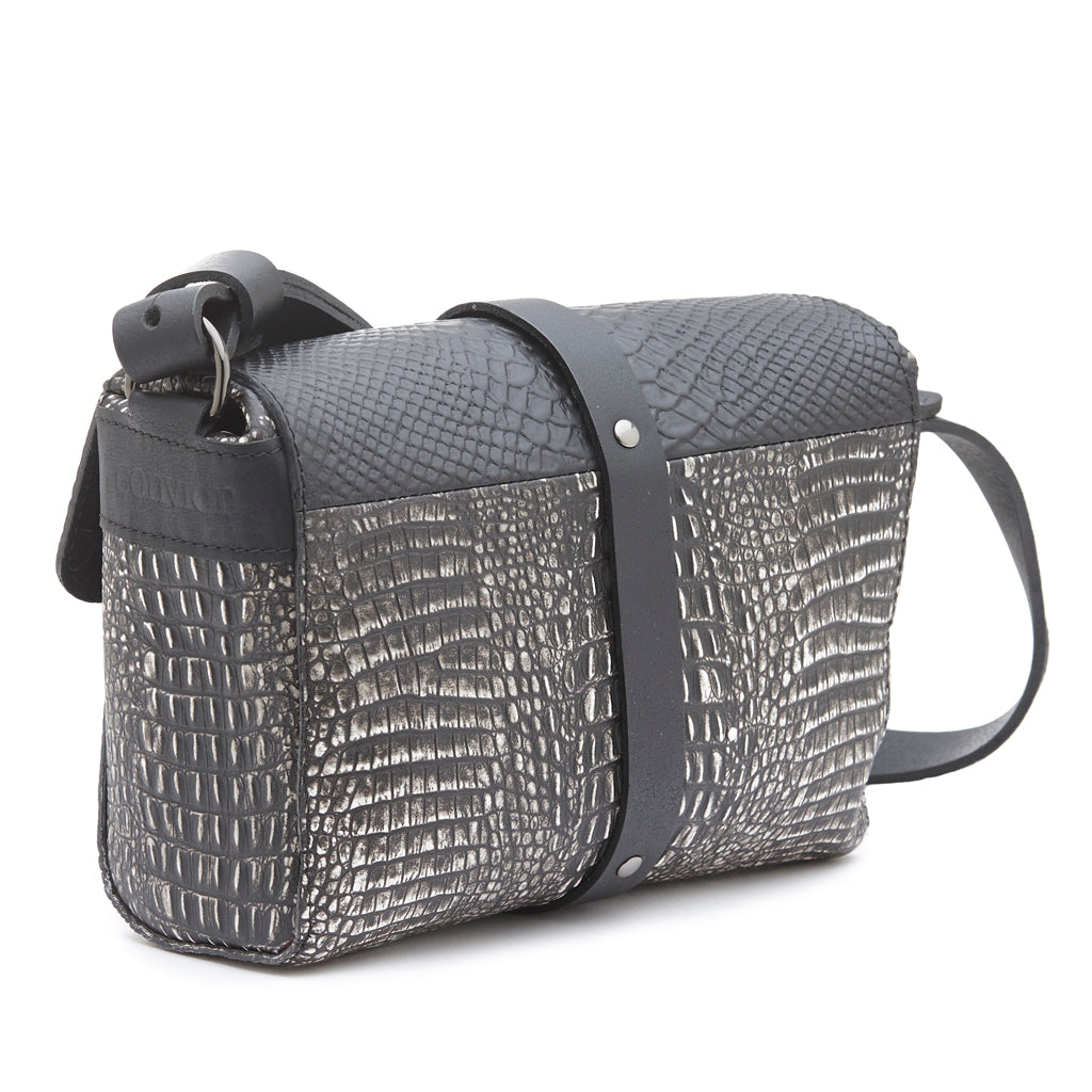 Sophia Boxy Satchel Black snake and black/white snake print leathers