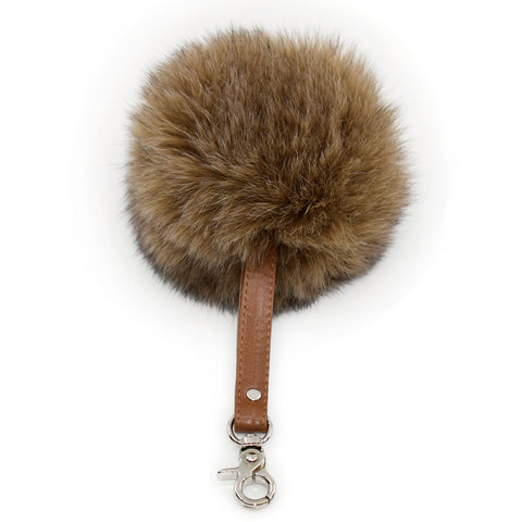 Fur Key Charm - Grey Olive