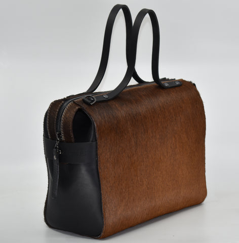 Bridget Bowler Black Cowhide