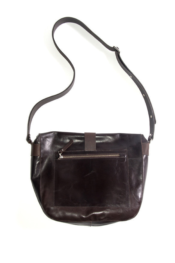 Convict bags Alex satchel, reverse side exterior zip pocket, dk brown leather, australian made