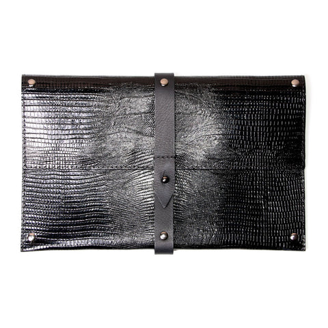 Ellen Clutch Brown Snake Print Leather