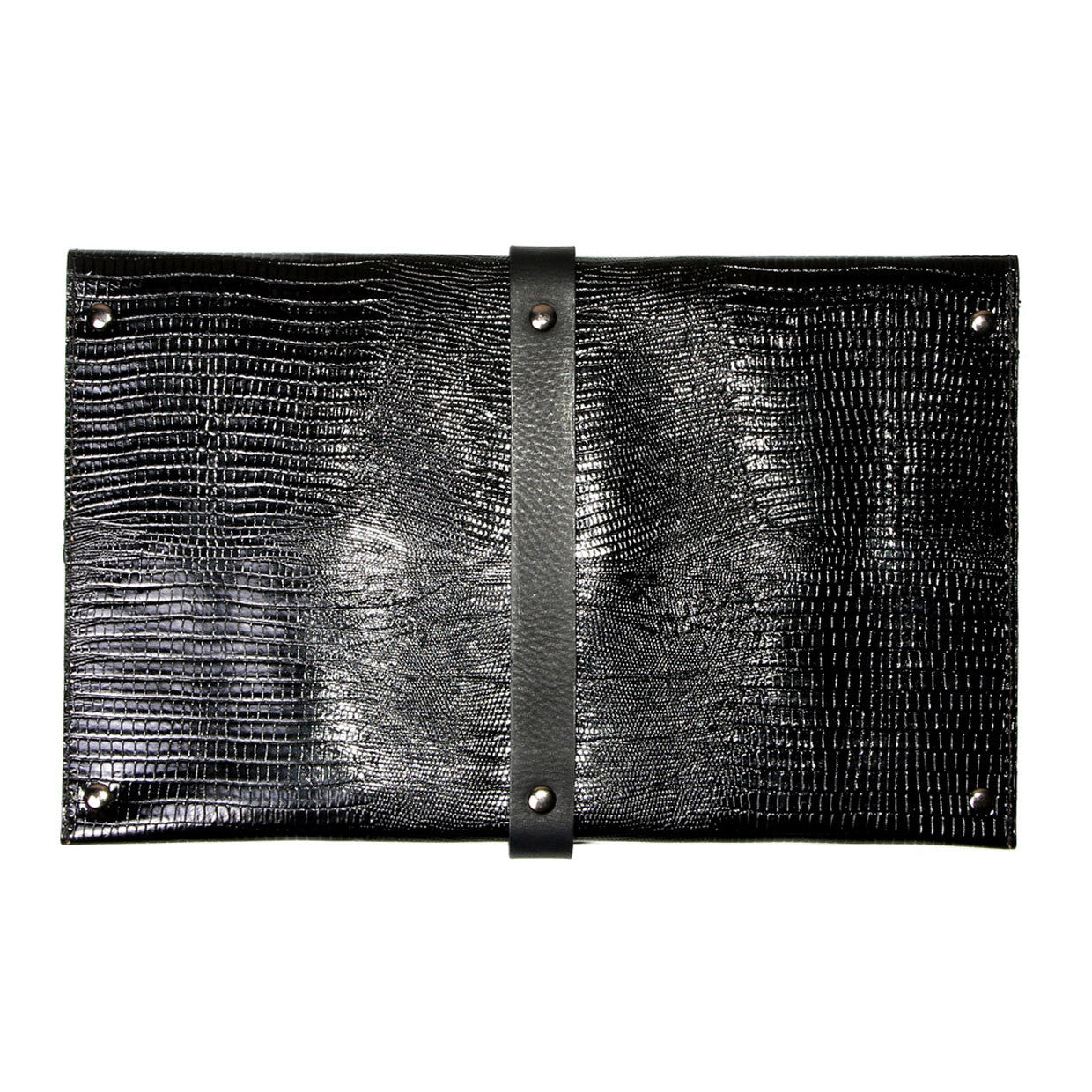 Mary Clutch Black Snake Print Leather