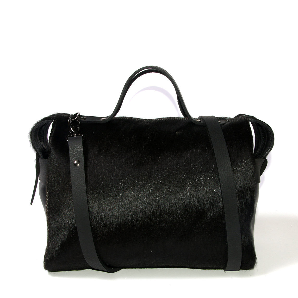 Bridget Bowler - Black cowhide - Shoulder strap wrapped