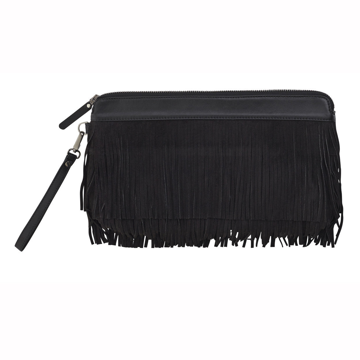 Ellen Fringed Clutch Black Suede