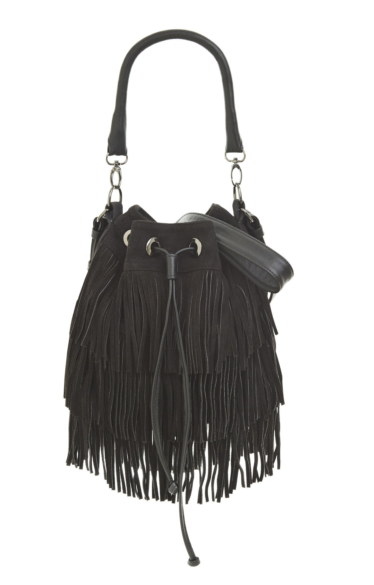 Frances Fringed Bucket - black suede