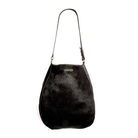 Bridget Bowler Black Snake Print Leather