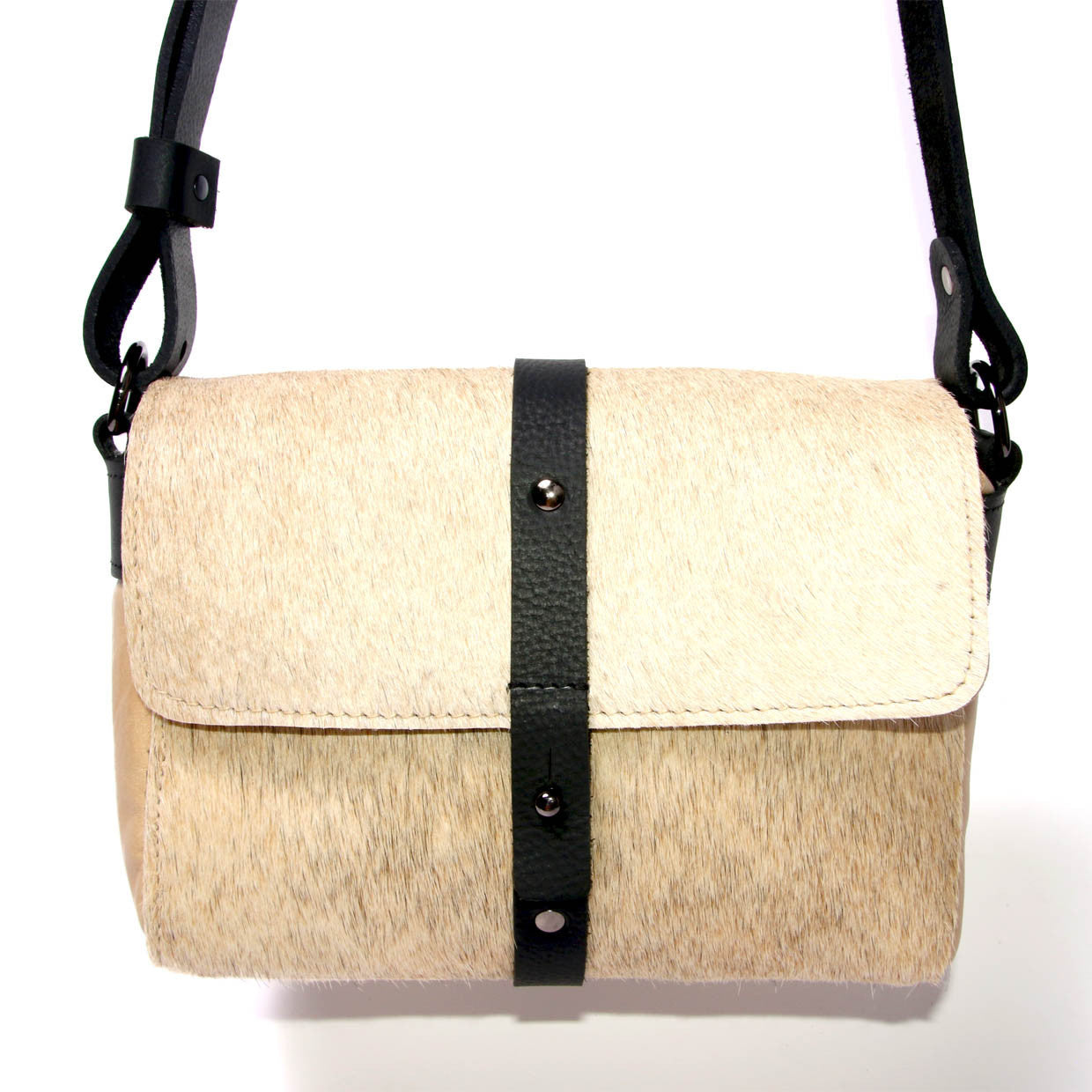 Sophia Box Satchel - Beige cowhide detail