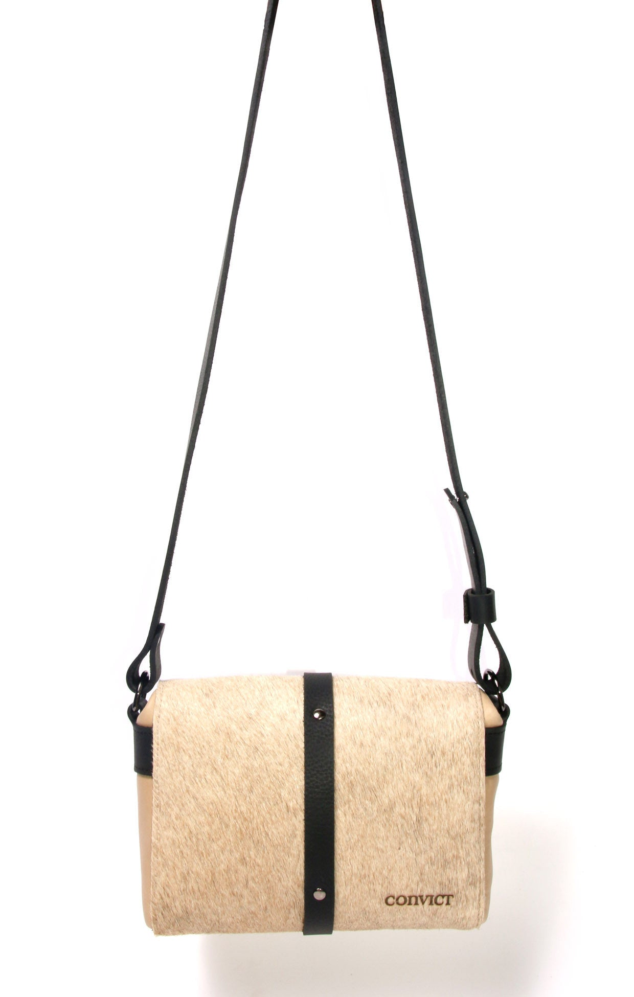 Sophia Box Satchel Back - Beige cowhide